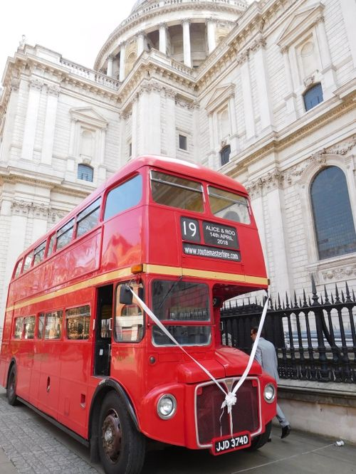 my daughter's wedding bus at St Paul's Cathedral 14 4 2018