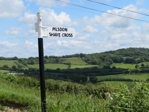 Old-fashioned signpost pointing to Pilsdon, Dorset