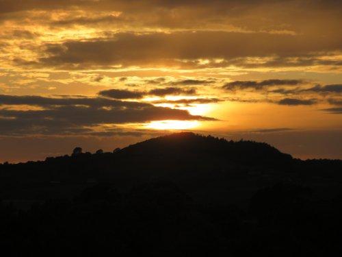 Glorious sunset in front of farmhouse B&B (Gerrards Farm) near Pilsdon, Dorset