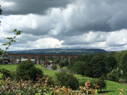 A cloudy day over Whalley, viaduct.