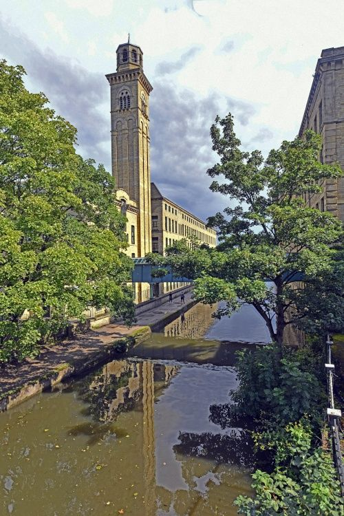 Salt Mills from the Leeds and Liverpool Canal at Saltaire