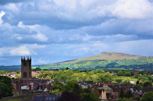 Ludlow with Clee Hill in the background.