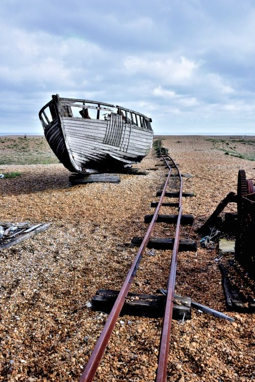 A Derelict Boat with Rail Track at Dungeness