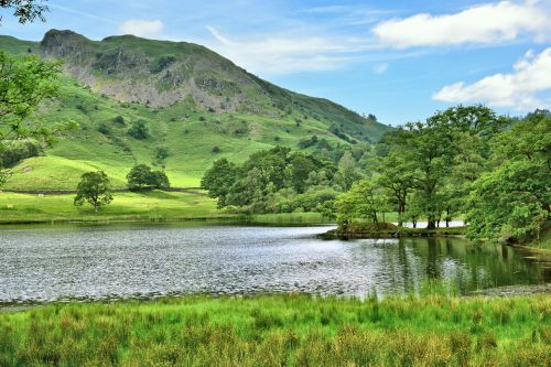 Grasmere View with the Langdales Behind in the Lake District