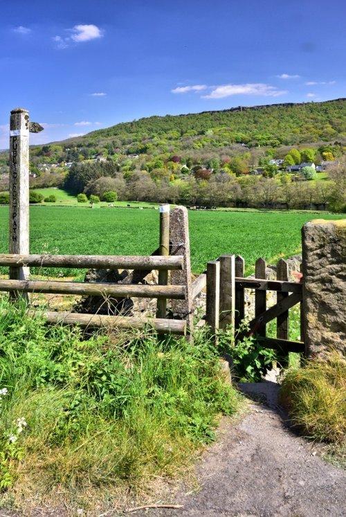 View Across to Curbar Village from Calver