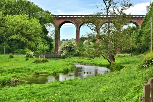 The River Darent and the Railway Viaduct in Eynsford, Kent