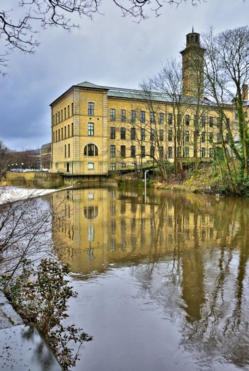 Salt's Mill Reflected in the River Aire
