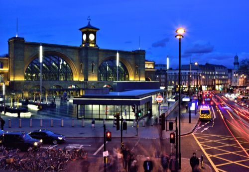 Evening View of King's Cross Station from Euston Road