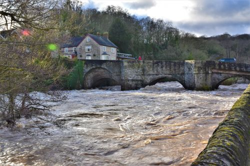 The River Teme in flood at Ludlow.