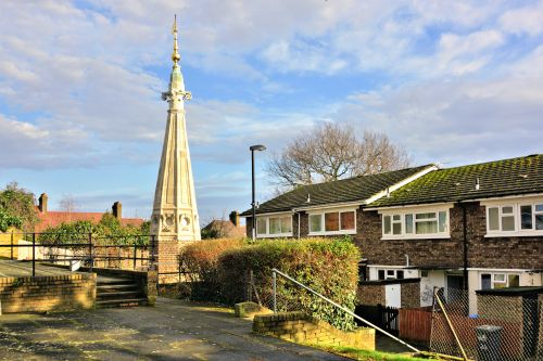 St Antholin's Church Spire on the Round Hill Housing Estate