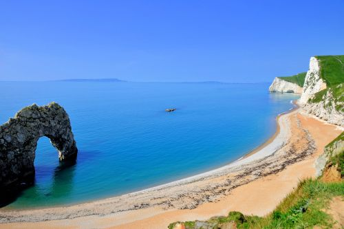 Durdle Door with Beach and Cliffs View