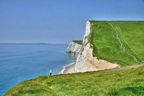 Viewing the Cliffs at Durdle Door, Dorset, England