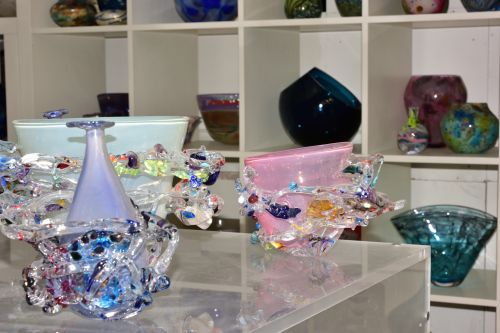 Display of Some Very Intricate Blown Glass Items