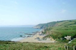 Hemmick Beach near Boswinger in Cornwall