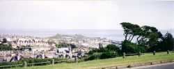 A view of St Ives from a high point behind the town.