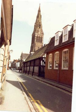 Guildhall Lane, with the Guildhall and the Cathedral, Leicester.