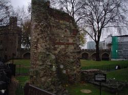 Remaining part of old Roman wall around London Wallpaper
