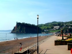 Teignmouth, Devon. Beach: looking West.