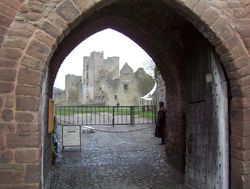 The main gate of Ludlow Castle