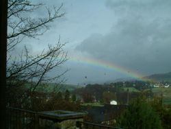 View of a Yorkshire rainbow from a cafe in Haworth, West Yorkshire
