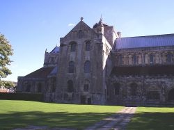 The left facade of Romsey Abbey, Hampshire