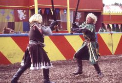 Knights in action at Camelot Theme Park, Charnock Richard