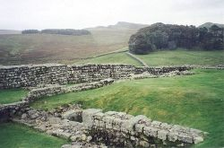 Ruins of the Roman fort at Housesteads on Hadrian's Wall