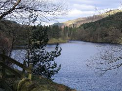 View over northern stretch of Ladybower from Hagg Side, to Derwent Dam tower and Pike Low