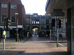 The Historic Stonebow in Lincoln Town Centre.