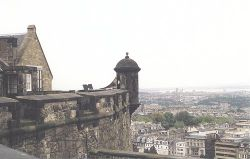 View of Edinburgh and the castle wall near the One O'Clock Gun