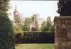 Dunfermline Abbey , Church and Palace ruins viewed from Pittencrief Park known locally as The Glen.