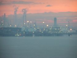 Immingham Docks at sunset, Lincolnshire