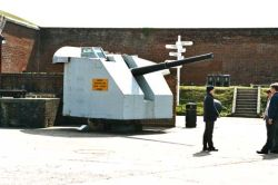 4.5-inch naval gun is ex HMS Zambesi, [sic] dated 1943