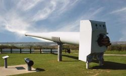 14 inch MK VII naval gun is a typical battleship weapon, and had range of about 22 miles