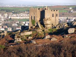Carn Brea Castle, Cornwall, looking Easterly towards Redruth.