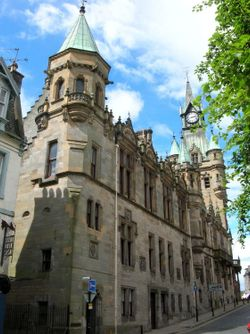 Dunfermline Town Hall viewed from Kirkgate.