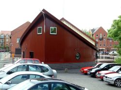 Scout hut, in the old port area, Chester, built to the shape of a ship.