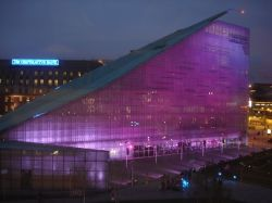 Purple lit Urbis in Manchester
