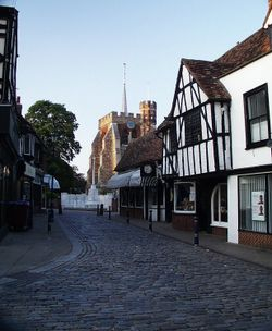 Cobble St Leading To St Marys Church in Hitchin, Hertfordshire