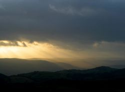 Carding Mill Valley, Church Stretton, Shropshire. Sunset view from The Stiperstones