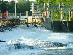 Another view of Boulters Weir, Ray Mill Island in Maidenhead.