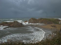 In a storm. Hope Cove, Devon