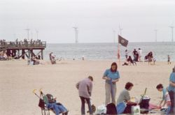 Great Yarmouth Beach, Norfolk including Scroby Sands windfarm in the background