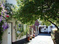 A side street in the centre of Chulmleigh, Devon, dressed for Summer