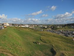 Above Summerleaze bay and carpark, looking back towards the town