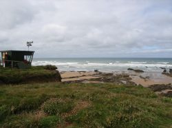 A lifeguard station on the cliffs near Crooklets Bay, Bude, Cornwall