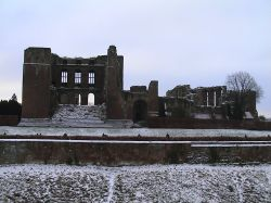 Kenilworth Castle keep, Warwickshire, in the depths of winter again.