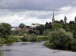 This is view of Ross-On-Wye from across the river