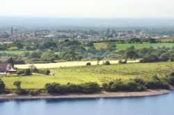 Chorley, Lancashire, from Hurst Hill with Anglezark resevoir in foreground
