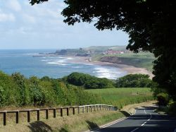 Sandsend on the North Yorkshire coast - looking south towards Whitby